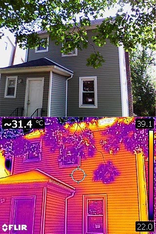 An example of what a thermal imaging camera sees versus the naked eye.